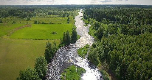 River Merikarvianjoki is flowing through fields and forests.