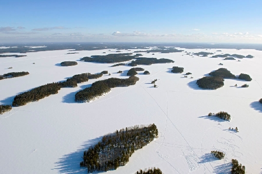 Finland's lakes freeze over in winter. Lake Suontee, Joutsa.