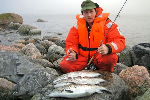 Autumn is a good season for fishing sea trout on Gulf of Finland.