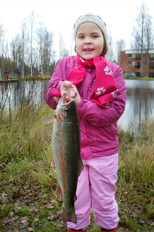 Rainbow trout is the most common game fish on angling ponds.
