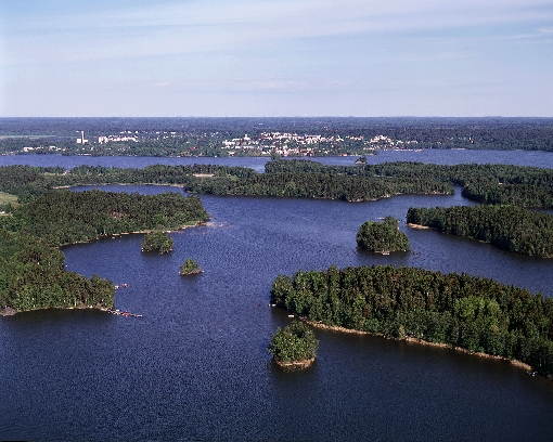A view over Lake Lohjanjärvi, with the town of Lohja in the background.